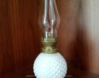 White Hobnail Glass Oil Lamp