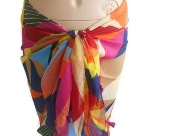 Rainbow Sarong, Beach Cover, Swimwear Cover, Swimwear, Rainbow Pareo, Cotton Sarong, Beach Sarong, Women Scarf, Pool Cover, Wide Sarong