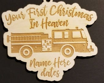 First Christmas In Heaven Fire Truck  Christmas Ornament