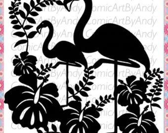 flamingo stencil  reusable stencil wall furniture canvas stencil