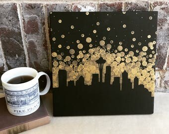 Seattle Skyline Painting//Space Needle Painting//Seahawks Fan gift