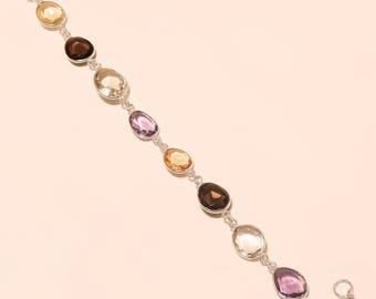 Natural Multistone Bracelet Sterling Silver Bracelet AAA Gemstone Bracelet 925 Sterling Silver Jewelry Body Jewelry Bracelets 8.25'' E-1029