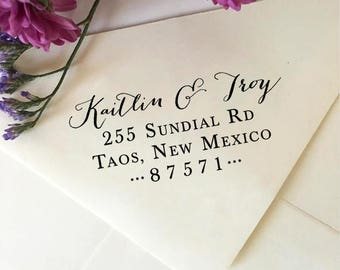 Return Address Stamp, Custom Wedding Address Stamp, Self-Inking Stamp, Calligraphy Wooden Stamp, Rubber Stamp, Personalized Address Stamp