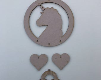 MDF Unicorn head solid Dream Catcher ready to decorate, choose your hanging shapes