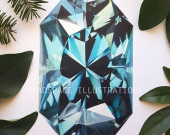 Blue Topaz Crystal Mineral Gemstone - Colored Pencil Art Print by Headspace Illustrations