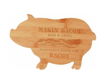 Custom Pig Cutting Board, Personalized Bamboo Gift, Wedding and Anniversary, Pig Decor