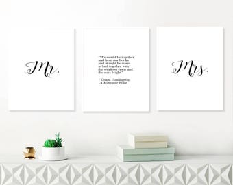 Mr and Mrs wall art prints, Set of three wall art, Ernest Hemingway quote poster, quote printable art, love wall set, wall art for couples