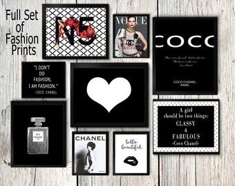 Coco Chanel print set, Coco Chanel wall art, Coco Chanel perfume, black and white posters, Coco chanel quotes, fashion print, cc No5, lips