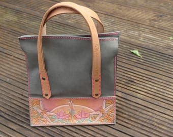 Leather Sandwich bag handbag - beautiful pastel colours