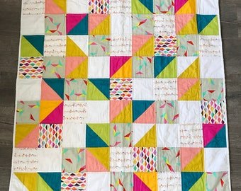 Moder Baby Quilt White and Brights