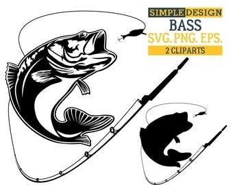 Bass SVG Fishing Fish Svg Hooks