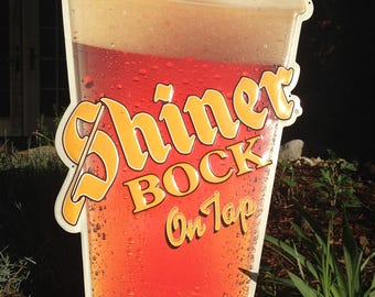 Shiner Bock On Tap Beer/Vintage Beer Sign/Shiner Bock/ Beer Wall Art/HappytownVintage