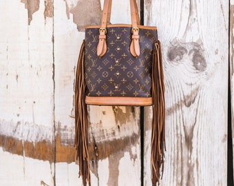 The French Tote (Petit)  Whit Studs Louis Vuitton, fringe, gift for her, boho, western, cowgirl, gypsy, crossbody bag, purse, Christmas