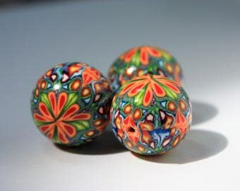 Polymer Clay Focal Beads 18mm  (Set of 3)
