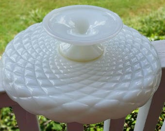 Sale! Vintage Milk Glass Quilted Cake Stand