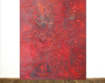 """Red Large Abstract Acrylic Paste Painting 32""""x40"""" Hand Painted Color Field After Rothko Original Art from Ariane von Bornstedt"""