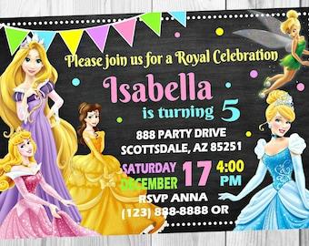 Princess Chalkboard Invitation - Cinderella Aurora Belle Rapunzel Tinkerbell Birthday Party Invitation - Birthday Party Invite - Customized