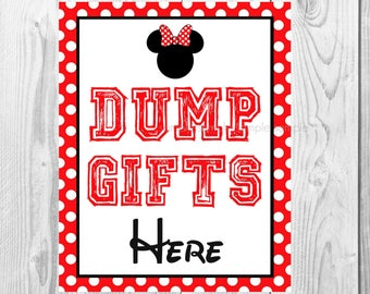 "Dump Gifts Here Sign, Minnie Mouse Birthday Party Sign, 8""x10"" Printable, Instant Download"