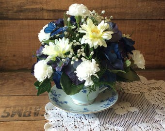 Teacup Flower Arrangement, Blue and White Teacup,  Victorian Floral Cup and Saucer, Artificial Flower Teacup Arrangement, Made In Canada