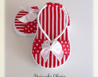 Red and White Polka Dot and stripe sandals / shoes for American Girl Dolls / 18 inch dolls. created by Uniquely Gloria