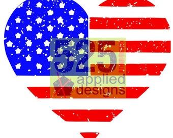 American Flag Heart Distressed/Regular Cutting File, Stars & Stripes, Studio 3, SVG, Silhouette Cameo, HTV, Vinyl,  525 Applied Designs