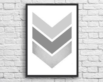 """Gray Blush Chevron Print, Gray Art Blush Print, Geometric Print, Pastel Art, Scandinavian Printable Art, Digital Download. """"14"""""""