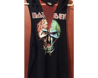 Iron Maiden customised band tee dress fishnet