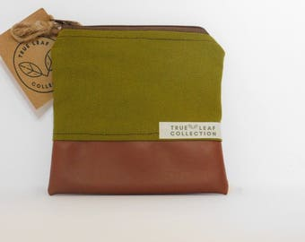 Coin Purse // Olive Green on Brown // True Leaf Collection