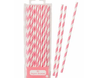 Pink Party Straws, Pink and White, Pink Straws, Pink Party Supplies, Princess Party, Pink Drinking Straws, Pink Paper Straws