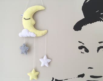 moon cloud stars baby nursery mobile wall decoration shower christening gift