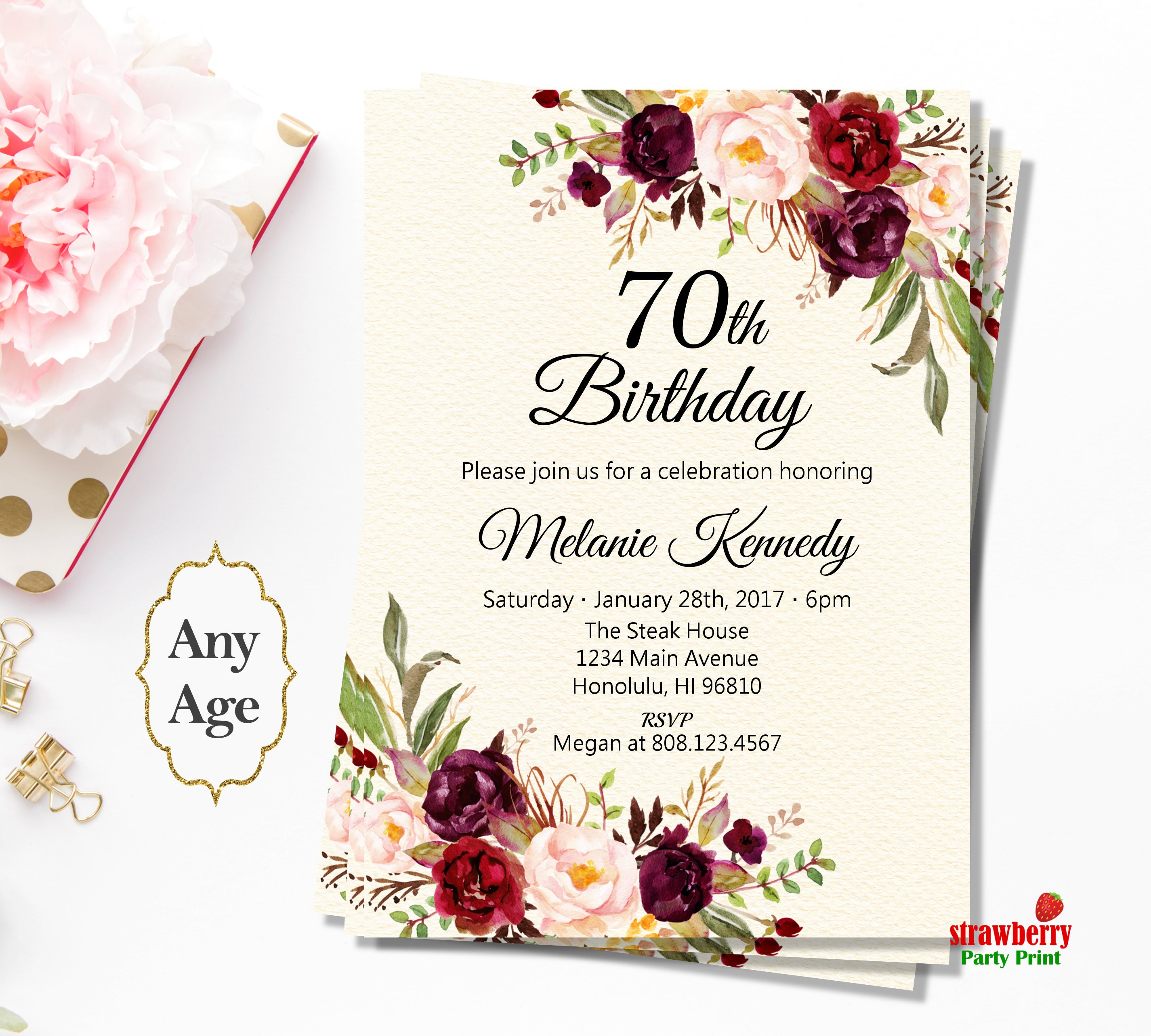 70th Birthday Invitation For Women. Floral Birthday Invitation. Boho ...