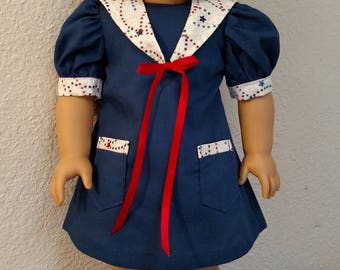 "Navy Blue Sailor Dress with Detachable Collar for American Girl and 18"" Dolls"