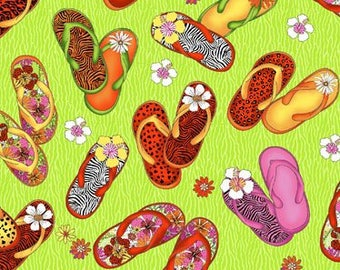 "By The HALF YARD - Flip Flop Island by Exclusively Quilters, Pattern #3990-60011-6, Multicolored 2.25"" Flip Flops on a Tonal Lime Green"