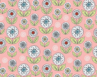 By The HALF YARD - Dutch Treat by Betz White for Riley Blake, #C5283 Dutch Garden Pink, Large White, Red & Blue Flowers, Leaves, Medallions