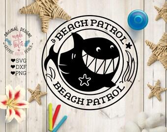 Shark svg file, Beach Patrol Cut File in SVG, DXF, PNG, Beach svg file, Summer svg file, Shark Cut file, Shark dxf, Beach Patrol design
