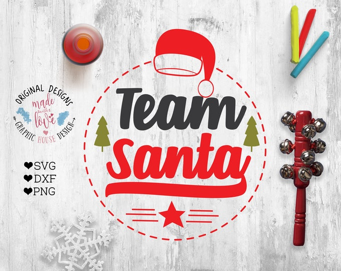 Christmas svg, Santa SVG, Rudolf svg, Team Santa, Team Rudolf, cut file, heat transfer, Christmas printable design, Santa Claus svg,