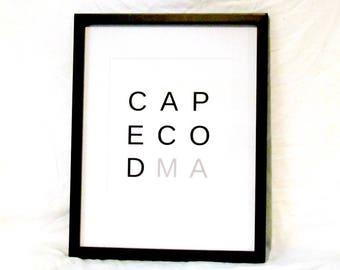 Cape Cod Travel Print Cape Cod Digital Wall Art Cape Cod Typography Print Cape Cod Art Instant Download