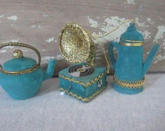 3 Vintage Teal Blue & Gold Flocked Christmas Ornaments Vintage Christmas Ornaments