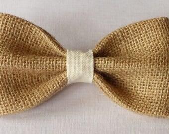 Burlap and ivory fabric bow