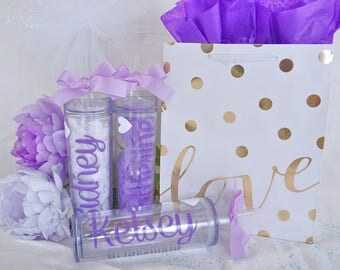 Personalized tumbler, custom tumbler, bridesmaid gift, wedding favor, bachelorette party, custom bottle, wedding tumbler, team tumbler