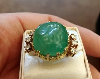 Victorian 14k Gold 16ct Columbian Emerald Cabochon Diamond Ring Exeptional Exclusive One Of A Kind