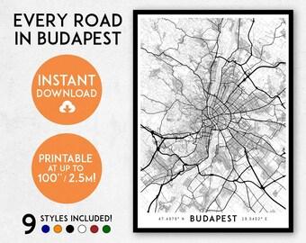 Budapest map print, Printable Budapest map art, Budapest print, Budapest art, Budapest poster, Budapest wall art, Budapest gift, Hungary map