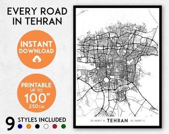 Tehran map print, Printable Tehran map art, Tehran print, Iran map, Tehran art, Tehran poster, Tehran wall art, Tehran gift, Map of Tehran
