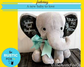 Elephant Birth Announcement, Personalized Elephant, Custom Birth Announcement, Personalized Baby Announcement, Elephant Nursery, Baby Gift