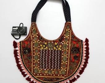 Handmade Ethnic Designer Tribal Banjara Patchwork Embroidered Hippy Fashionable Stylish Trendy Hippie Gypsy Boho Bohemian Shopper Bag I082