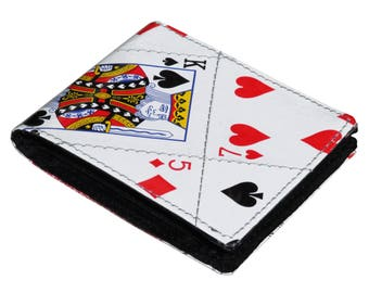 Upcycled wallet, playing cards gifts, poker player gifts, play cards wallet, vegan men's wallet, vegan wallet, vegan friendly gifts for dad