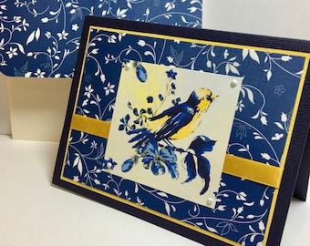 Bird Note Cards - Pair of Bird Cards - Blue Birds - Handmade