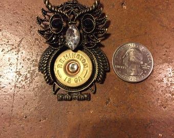 12 gauge shotgun shell owl pendant