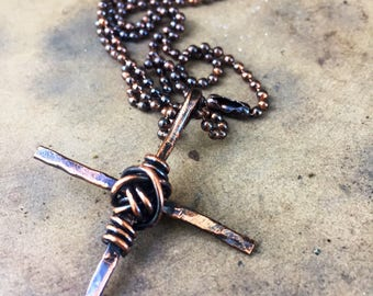 Mens Rustic Copper Cross Necklace