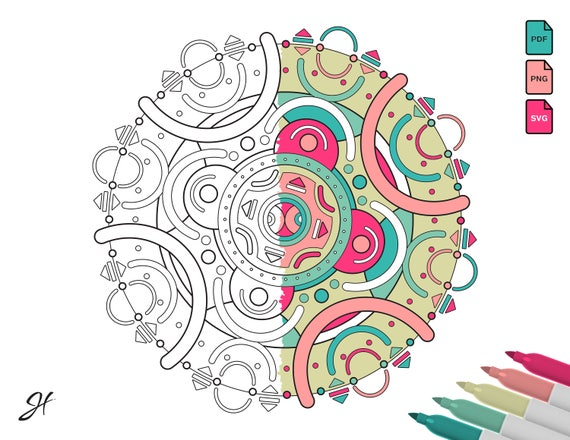 Coloring Page 009 Geometric Shapes Circles Rounded Lines